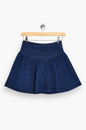Denim Gathered Mini Skirt | Topshop