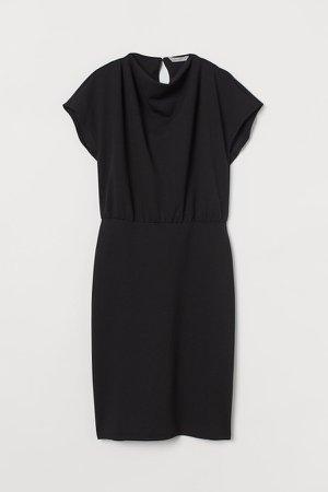 Cap-sleeved Dress - Black