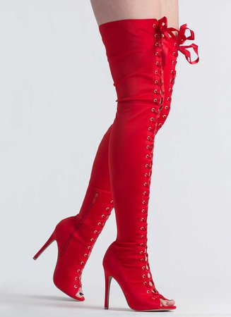 red thigh high boots - Google Search