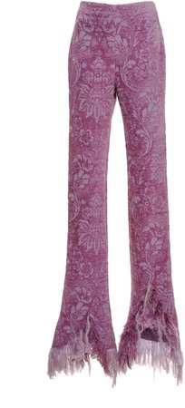 Acne Studios Piamme Frayed Floral Chenille Flared Trousers