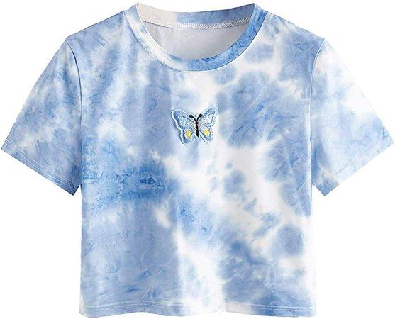 SweatyRocks Women's Short Sleeve Print Crop Top T Shirt at Amazon Women's Clothing store