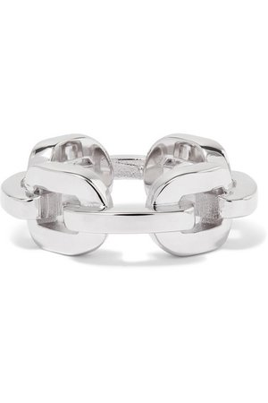 Jennifer Fisher | Chain Link silver and rhodium-plated ring | NET-A-PORTER.COM