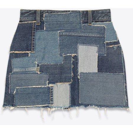 Saint Laurent Patchwork Mini Skirt In Multi Blue Denim ($1,290)