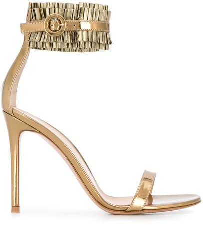 pleated ankle-strap sandals