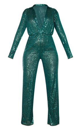 Green Sequin Collar Detail Jumpsuit | PrettyLittleThing USA