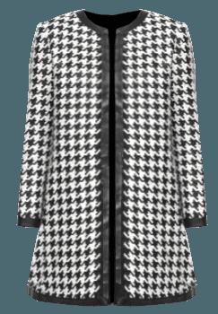 Ralph Lauren Black Label Adelle Woven Houndstooth Coat with Leather Trim   Neiman Marcus