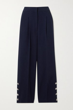 Button-embellished Pleated Wool-blend Crepe Wide-leg Pants - Navy