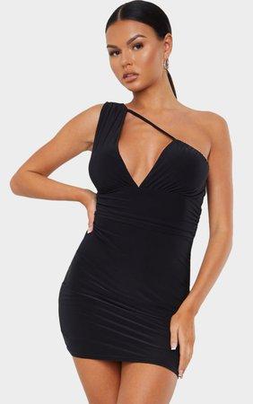 Black Asymmetric Plunge Bodycon Dress | PrettyLittleThing USA