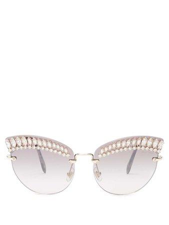 Crystal-embellished acetate cat-eye sunglasses | Miu Miu | MATCHESFASHION.COM UK
