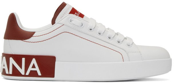 White and Red Portofino Sneakers
