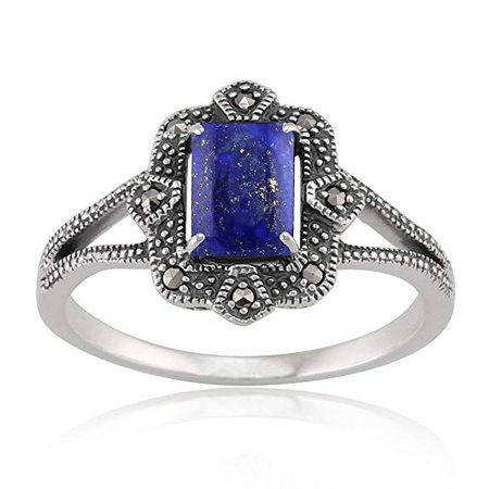Amazon.com: Gemondo Sterling Silver 0.9ct Lapis Lazuli & 8.8pt Marcasite Art Deco Style Ring: Clothing