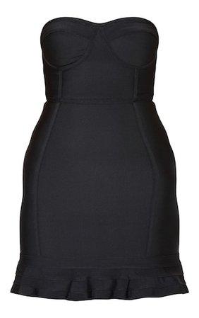Black Bandage Frill Hem Bodycon Dress. Dresses   PrettyLittleThing