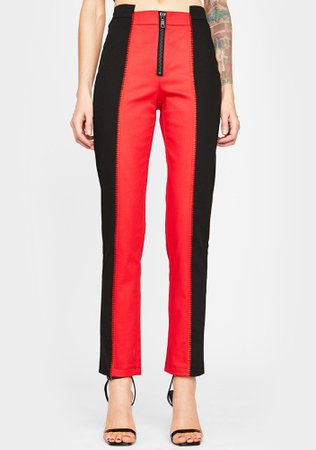 Horoscopez Colorblock Trousers - Red Black | Dolls Kill
