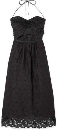 Iris Cutout Broderie Anglaise Linen Dress - Black