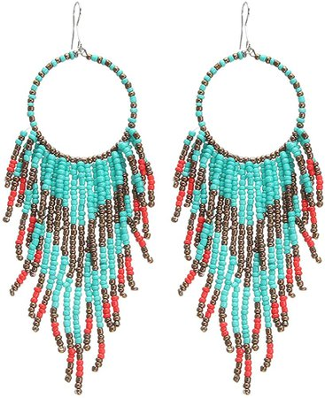 Amazon.com: Coeufuedy White Beaded Earrings for Women Seed Bead Earrings Bohemian Statement Drop Fringe Earring for Girls(White): Clothing