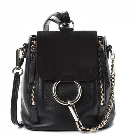 CHLOE Suede Calfskin Mini Faye Backpack Black 255513