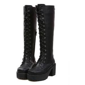 black knee high combat boots