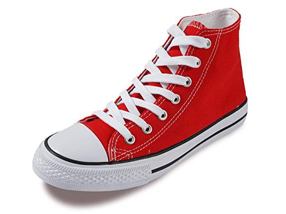 Amazon.com | SUNJIN ACRO Women's Unisex Fashion Lace up Canvas Sneaker High Top Walking Shoes (Red, 9.5 M US Women / 7.5 M US Men) | Fashion Sneakers