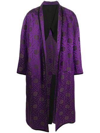 Haider Ackermann Geometric-Print Silk Coat Ss20   Farfetch.com