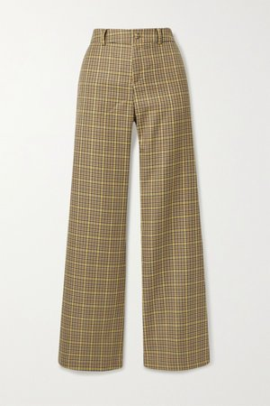 Beige Checked woven straight-leg pants | AVAVAV | NET-A-PORTER