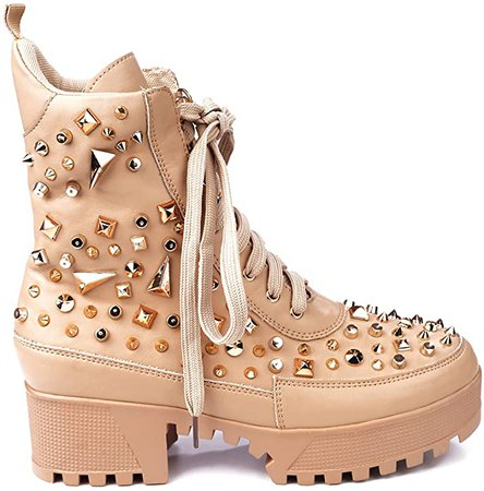 Amazon.com | Cape Robbin Night Sky Combat Ankle Boots for Women, Platform Booties with Chunky Block Heels, Womens Studded High Tops Boots - Nude Size 6 | Ankle & Bootie