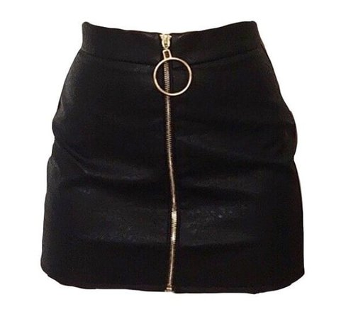 zip up faux leather skirt