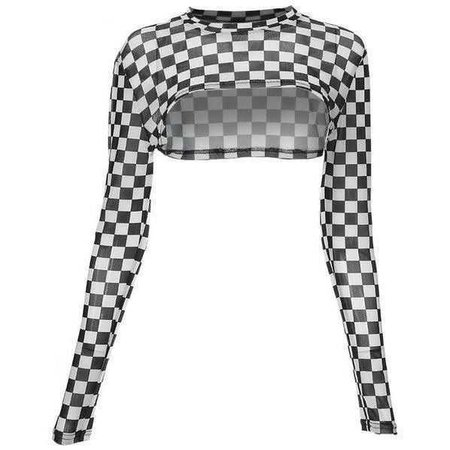 Women Cropped Long Sleeve T-Shirts Slim Waist Checkboard O-Neck Streetwear