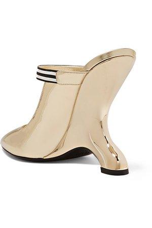 Prada | 110 logo-appliquéd mirrored-leather mules | NET-A-PORTER.COM