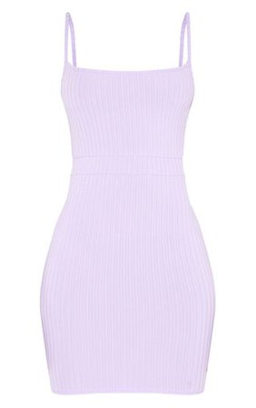 Lilac Ribbed Strappy Back Dress | Dresses | PrettyLittleThing