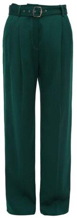 Blanche Topstitched Wool Wide Leg Trousers - Womens - Dark Green