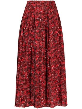 Valentino Lip Print Pleated Skirt - Farfetch