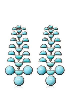 Nakard Reptile Girandole Sterling Silver Turquoise Earrings By Nak Armstrong | Moda Operandi