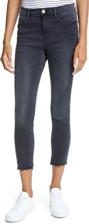 Le High Ripped Raw Hem Crop Skinny Jeans