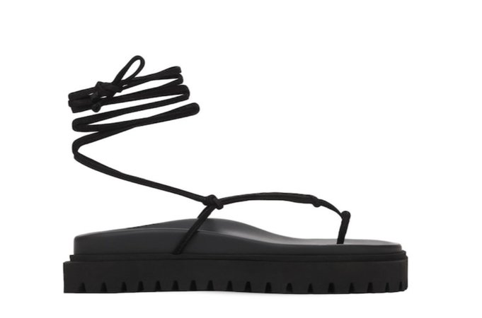 The Attico Suede Lace up Thong Sandals