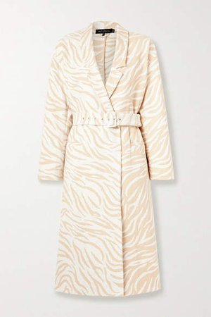 Belted Double-breasted Cotton-blend Zebra-jacquard Coat - Ivory