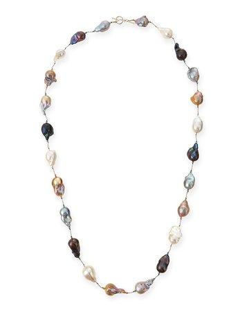 """Margo Morrison 35"""" Multicolor Baroque Pearl Long Necklace"""