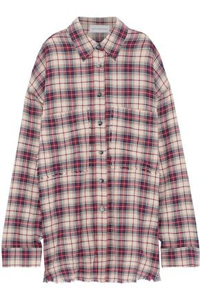 Frayed checked cotton-blend flannel shirt | FAITH CONNEXION | Sale up to 70% off | THE OUTNET