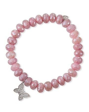 Sydney Evan Pink Grapolite and Diamond Butterfly Bracelet