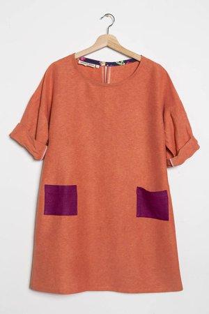 Mod Shift Dress in Orange and Purple Hemp & Silk Fabric with   Etsy