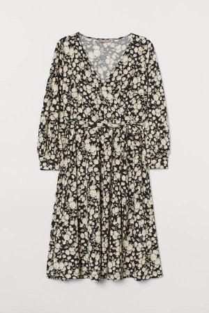 H&M+ Creped Wrap-front Dress - Beige