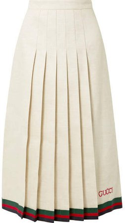 Pleated Embroidered Linen And Silk-blend Midi Skirt - Ivory