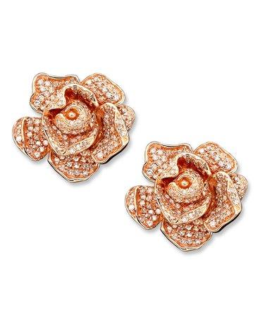 EFFY 14k Rose Gold Pave Diamond Rose Stud Earrings