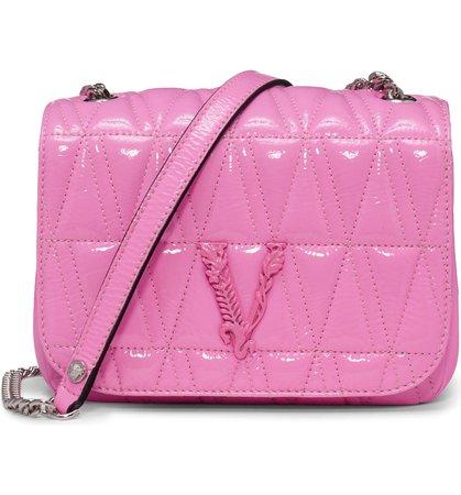 Versace Virtus Matelassé Patent Leather Shoulder Bag   Nordstrom