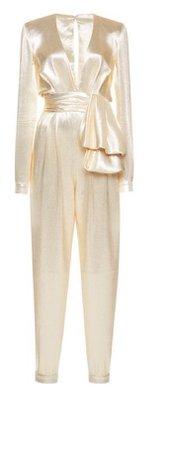 silk white cream jumpsuit zuhair murad