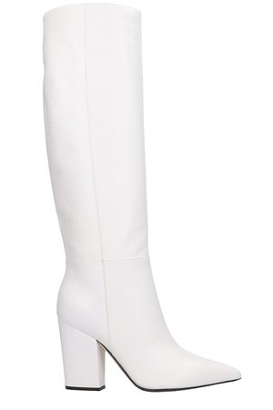 Sergio Rossi Sergio 090 High Heels Boots In White Leather