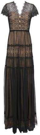 Nyree Lace-paneled Gathered Chiffon Gown