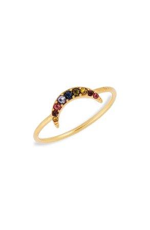 Madewell Rainbow Pavé Moon Ring | Nordstrom