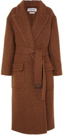 Oversized Belted Felt Coat - Brown