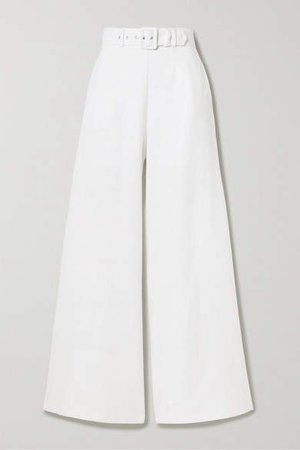 Pamela Belted Linen Wide-leg Pants - White