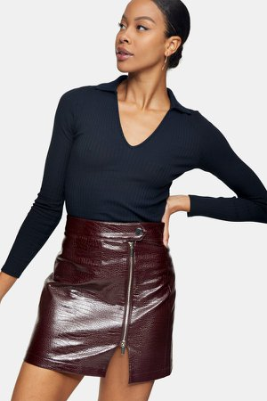Burgundy Crocodile Zip Mini Skirt